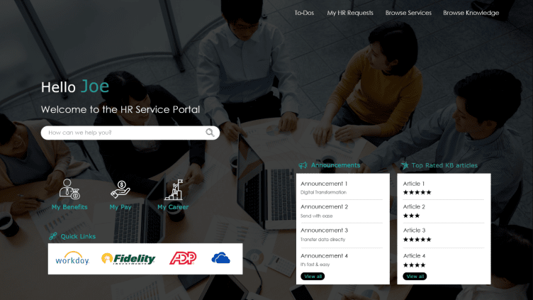 Action Based Portal